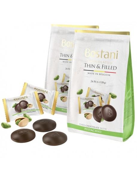 BOSTANI - discuri de ciocolata neagra cu fistic - 120g / produs in Belgia