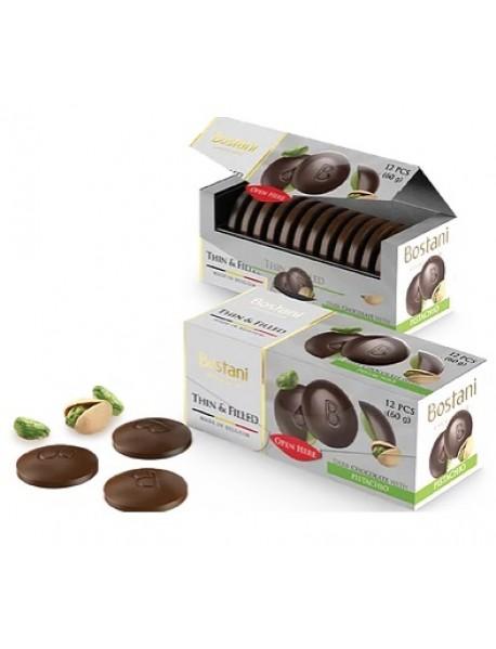 BOSTANI - discuri de ciocolata neagra cu fistic - cutie 60g / produs in Belgia