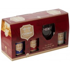 CHIMAY - Gift Pack 3 sticle 0.33l +1 pahar / bere trapista Belgia