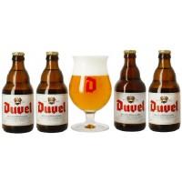 DUVEL - Oferta Speciala - 4 beri DUVEL 0.33l + 1 pahar / bere speciala Belgia