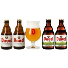 DUVEL - Oferta Speciala 2 - 2 beri DUVEL + 2 beri DUVEL TRIPEL HOP 0.33l + 1 pahar / bere speciala Belgia