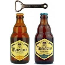 MAREDSOUS - Oferta Speciala  - 2 beri Maredsous: 1 bere BRUNE, 1 bere TRIPLE 0.33l + 1 desfacator/ bere de abatie Belgia