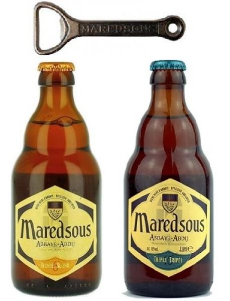 Oferta Speciala - 2 beri Maredsous: 1 Maredsous BRUNE + 1 Maredsous TRIPLE 0.33l + 1 desfacator/ bere de abatie Belgia