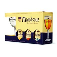MAREDSOUS - Gift Pack 3 sticle 0.33l + 1 pahar / bere de abatie Belgia