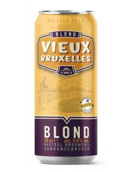 Oferta Speciala - 12 doze VIEUX BRUXELLES BLOND la pret special - Bere blonda 4.8% alc. - doza 0.5l / bere speciala Belgia