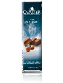 CAVALIER - Baton ciocolata lapte, crema pralinata si alune, fara zahar adaugat - 42g / produs in Belgia