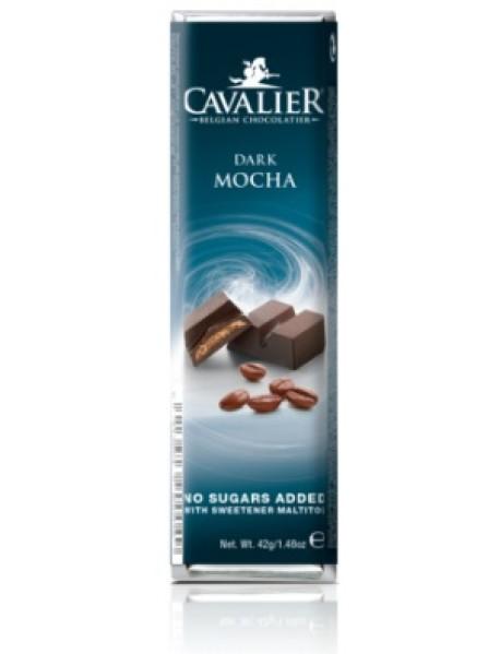 CAVALIER - Baton ciocolata neagra cu crema de cafea mocha, fara zahar adaugat - 42g / produs in Belgia