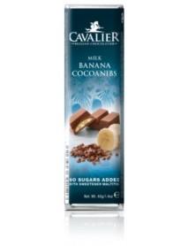 CAVALIER - Baton ciocolata lapte si crema banane, fara zahar adaugat - 40g / produs in Belgia
