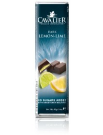 CAVALIER - Baton ciocolata neagra cu crema de lamaie si lime, fara zahar adaugat - 40g / produs in Belgia