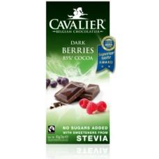 CAVALIER - Tableta ciocolata neagra cu fructe de padure - 85g - cu stevia / produs in Belgia