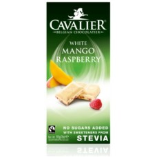 CAVALIER - Tableta ciocolata alba cu mango si zmeura - 85g - cu stevia / produs in Belgia