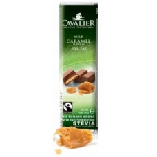 CAVALIER - Baton ciocolata lapte si caramel -30% grasimi - 40g - cu stevia / produs in Belgia