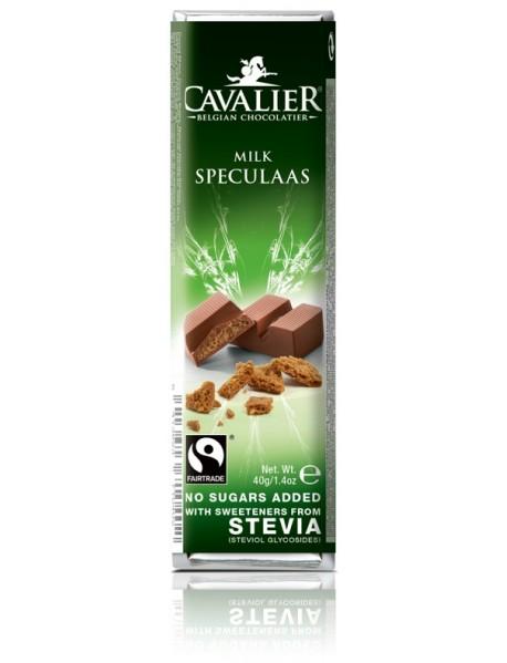 CAVALIER - Baton ciocolata lapte si speculoos - 40g - cu stevia / produs in Belgia