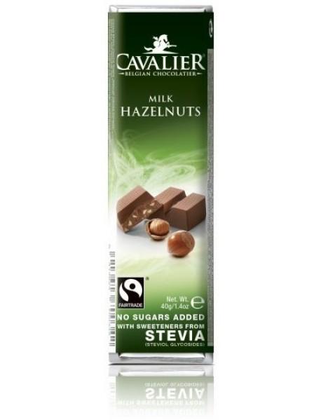 CAVALIER - Baton ciocolata lapte si alune - 40g - cu stevia / produs in Belgia