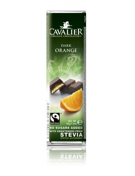 CAVALIER - Baton ciocolata neagra si portocale - 40g - cu stevia / produs in Belgia