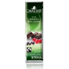 CAVALIER - Baton ciocolata neagra cu fructe de padure - 40g - cu stevia / produs in Belgia