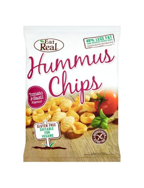 EAT REAL - Chips de humus cu rosii si busuioc - 45g / produs in Anglia