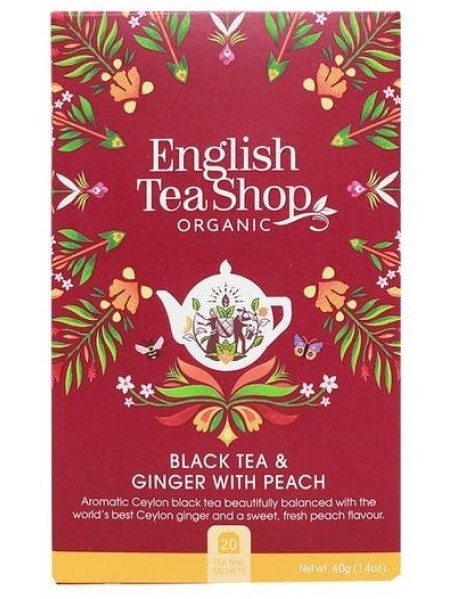 English Tea Shop - Ceai BIO - ceai negru, ghimbir si piersici - 40g - plicuri / produs in Sri Lanka