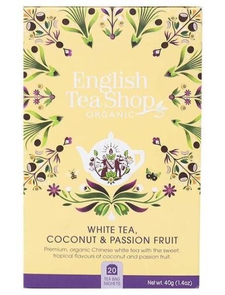 English Tea Shop - Ceai BIO - ceai alb, cocos si fructul pasiunii - 40g - plicuri / produs in Sri Lanka