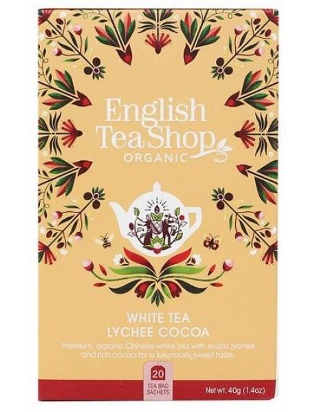 English Tea Shop - Ceai BIO - ceai alb, lychee si cacao - 40g - plicuri / produs in Sri Lanka