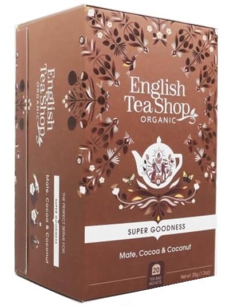 English Tea Shop - Ceai BIO - super goodness - ceai de plante cu yerba mate, cacao, ghimbir, cocos si lemn dulce - 35g - plicuri / produs in Sri Lanka