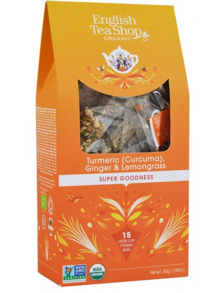 English Tea Shop - Ceai BIO - super goodness - ceai cu turmeric (curcuma), ghimbir si lemongrass - 30g - piramide / produs in Sri Lanka