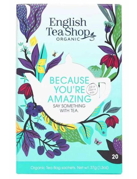English Tea Shop - Ceai BIO - Because You're Amazing - mix de 5 sortimente de ceai  37g - plicuri / produs in Sri Lanka