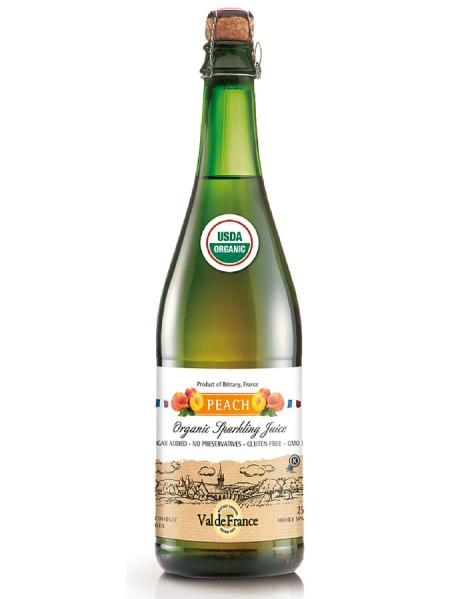 VAL DE FRANCE - Suc de MERE organic (BIO), carbonatat, cu aroma de PIERSICI - 0,75l / produs in Franta