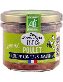 Les Bons Mets BIO - Terina de pui cu lamai confiate si migdale - 90g / produs in Franta