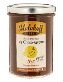 MALAKOFF - Crema tartinabila de ciocolata artizanala cu aroma de banane - 240g / produs in Franta