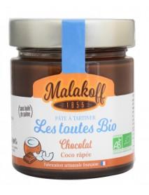 MALAKOFF - Crema tartinabila de ciocolata BIO artizanala cu cocos - 220g / produs in Franta