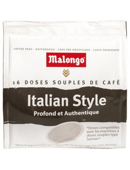 MALONGO - Cafea Pads Italian Style - 112g - 16 doze (pastile, capsule) compatibile espresoare Senseo Philips / produs in Franta