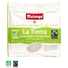 MALONGO - Cafea Pads La Tierra  BIO - 112g - 16 doze (pastile, capsule) compatibile Senseo Philips / produs in Franta