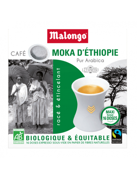 MALONGO - Cafea pastile BIO Moka Etiopia - pentru aparatele Oh Malongo si Rombouts - 16 pastile  / produs in Franta