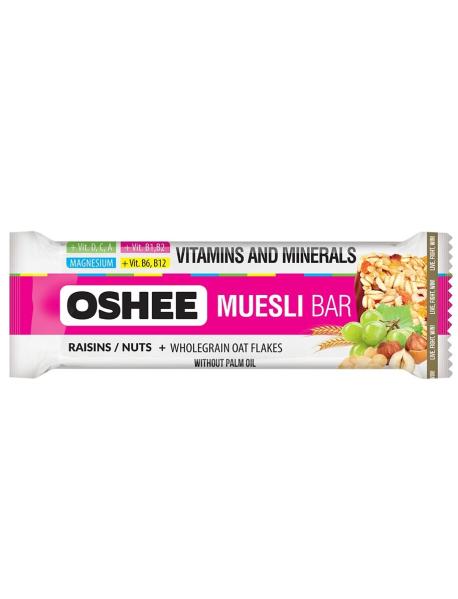 OSHEE - Baton Musli  cu magneziu, vitamine si minerale, cu stafide, alune de padure si ciocolata - 40g
