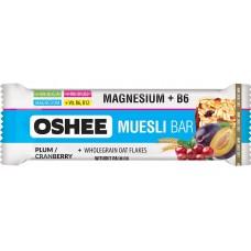 OSHEE - Baton Musli cu magneziu, vitamine si minerale, cu prune, merisoare si ciocolata - 40g