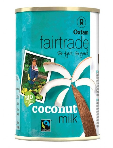 OXFAM - Lapte de Cocos BIO  (99% cocos)- 400ml / produs in Belgia