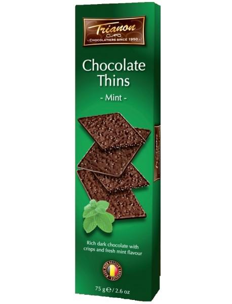 TRIANON - Foita crocanta de ciocolata neagra cu bucatele de zahar si gust de menta - 75g / produs in Olanda