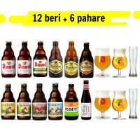 Oferta Speciala - 12 beri belgiene de la braseriile producatorului Duvel Moortgat si 6 pahare/ bere speciala Belgia