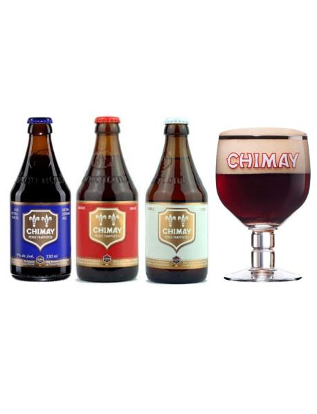 Oferta Speciala - 3 beri CHIMAY: bleue, rouge, triple +1 pahar / bere trapista Belgia