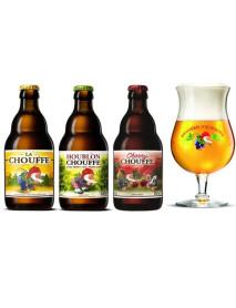 Oferta Speciala - 3 beri de la braseria DÁchouffe: La Chouffe, Houblon Chouffe, Cherry Chouffe + 1 pahar degustare  Chouffe 250ml / bere speciala Belgia