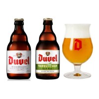 Oferta Speciala - 2 beri DUVEL : 1 bere Duvel + 1 Duvel TRIPEL HOP + 1 pahar / bere speciala Belgia
