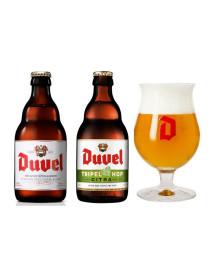 Oferta Speciala - 2 beri DUVEL : 1 bere Duvel + 1 Duvel TRIPEL HOP + 1 pahar degustare Duvel 200ml / bere speciala Belgia