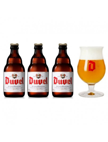Oferta Speciala - 3 beri DUVEL 0.33l 8,5% alc + 1 pahar degustare 200ml/ bere speciala Belgia