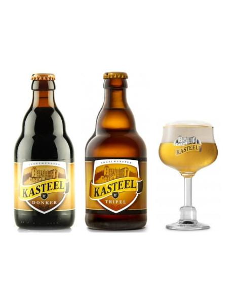 Oferta Speciala - 2 beri KASTEEL: Tripel si Bruin + 1 pahar gourmet pentru degustare (150ml) / bere speciala Belgia