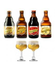 Oferta Speciala - 4 beri KASTEEL: donker, blond, rouge si tripel + 2pahare gourmet pentru degustare (150ml) / bere speciala Belgia
