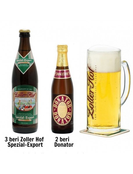 Oferta Speciala - 5 beri artizanale germane de la braseria ZOLLER-HOF (3buc Spezial Export + 2buc Donator) si 1 halba de bere / bere speciala Germania