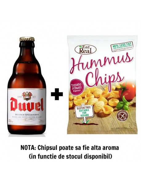 Oferta Speciala - 1 bere DUVEL - Bere blonda 8.5% alc. - 0.33l + 1 chips Eat Real humus cu rosii si busuioc 45g - gratis