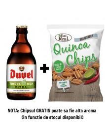 Oferta Speciala - 1 bere DUVEL TRIPEL HOP CITRA - Bere blonda 9.5% alc. - 0.33l + 1 chips Eat Real quinoua ardei iute si lime 30g - gratis