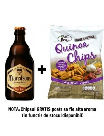 Oferta Speciala - 1 bere MAREDSOUS BRUNE - Bere bruna 8% alc. + 1 chips Eat Real  quinoua rosii si usturoi 30g - gratis